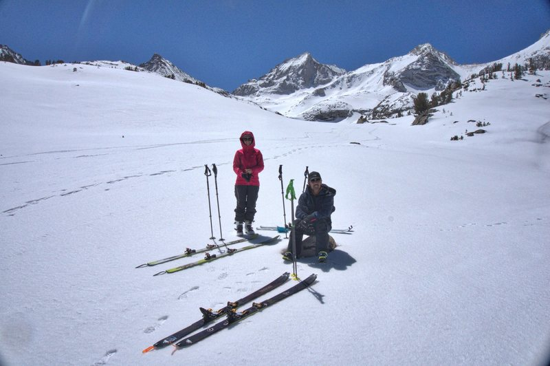 Ski touring in the upper basins near Treasure Lakes.