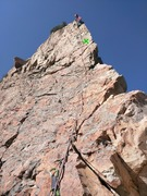 Rock Climbing Photo: Shows how run out the last pitch is before (and af...