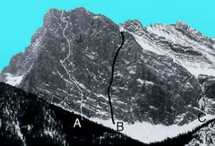 Rock Climbing Photo: In the posted photo, 'A' is the trad route Bro...