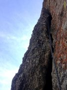 Rock Climbing Photo: Second pitch goes up left from the belay ledge to ...