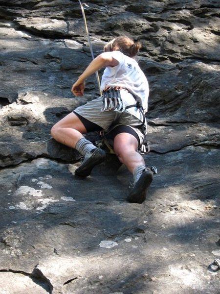 Rock Climbing Photo: Carol grabbin' a quick lap on Baby
