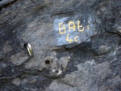 Rock Climbing Photo: Route name painted at the base:  Baby
