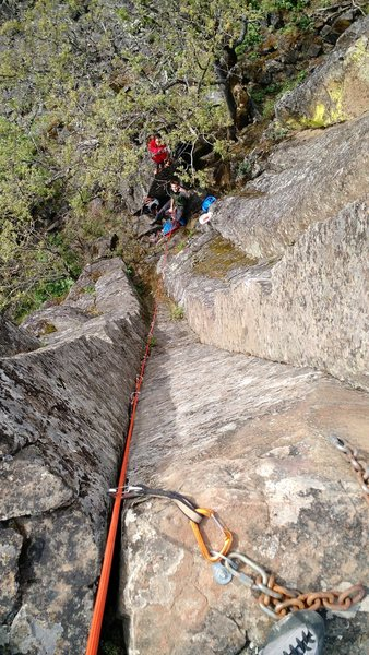 """Rock Climbing Photo: Solid solid pro up to 1"""" all the way."""