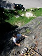 Rock Climbing Photo: Climbing up to the anchor on Bongo (with car in th...