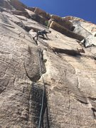 Rock Climbing Photo: Starting the traverse on the second pitch . Real e...