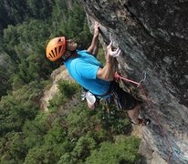 Rock Climbing Photo: Pitch 3 crux. Photo taken by Jim Thompson