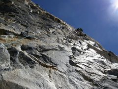 Rock Climbing Photo: On route, Upper Exum.