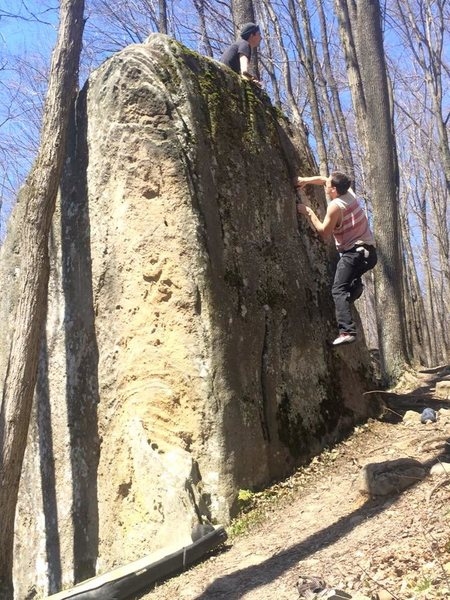 Rock Climbing Photo: Myself on the crack. Warm up is on the left of the...