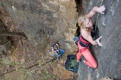 Rock Climbing Photo: Sadie workin' the route