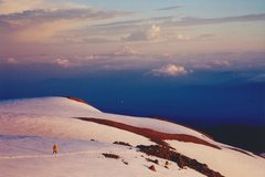 Rock Climbing Photo: Phil on Mt. Adams with Hood in the background, Jun...