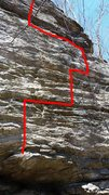 Rock Climbing Photo: The red line on the photo shows the route.