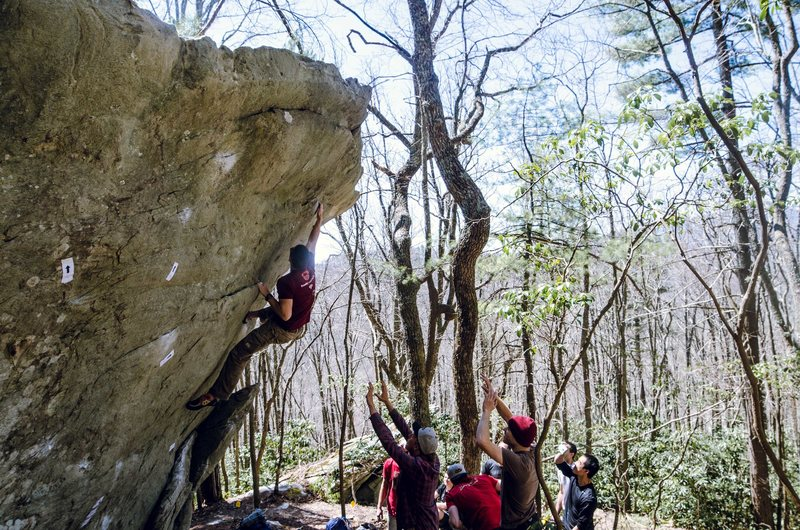 Rock Climbing Photo: Going for the last crimp