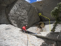 Rock Climbing Photo: The bonus pitch...if ye dare. Tricky entrance move...