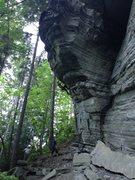 Rock Climbing Photo: Finishing the crux boulder problem