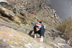 "Rock Climbing Photo: Mr. Hat on ""Column Direct"", 5.9+, nearin..."