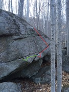 Rock Climbing Photo: The line in red and the extension in green. It onl...