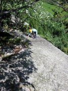 Rock Climbing Photo: Coming up the third pitch of Tunnel Diagonale