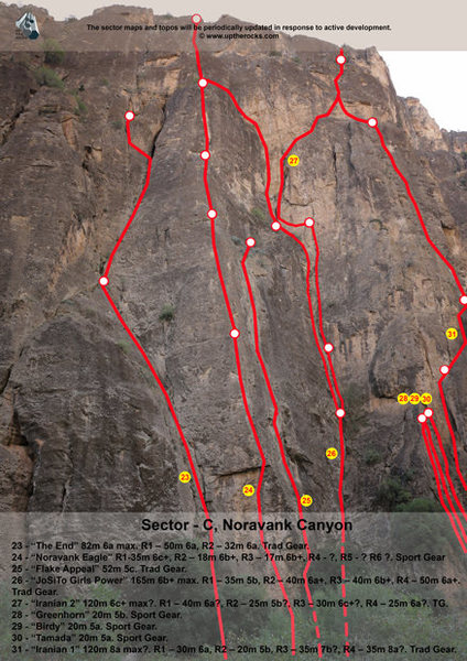 Noravank Canyon, Sector C. <br> For full information visit our website: <br> http://uptherocks.com/index.php/rock-climbing-topo-armenia/233-topo-noravank-canyon