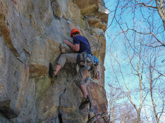 Rock Climbing Photo: Max pulling into the opening crux.