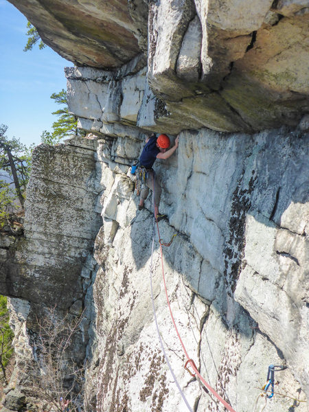 Rock Climbing Photo: Max on the long traverse pitch.  I did a hand trav...