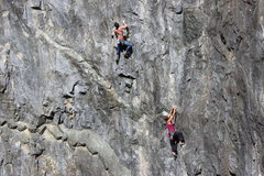 Rock Climbing Photo: Guy on left is on Chariots of Fire, Lady on right ...
