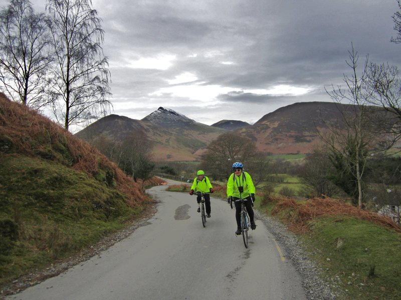 Biking out of the Newlands Valley with Causey Pike in the background .. Lake District