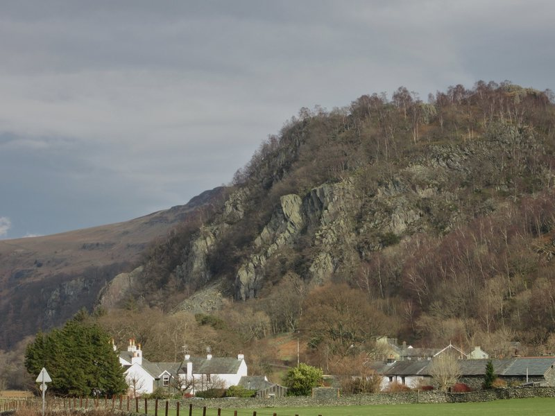 Shepherds Crag .. Borrowdale Valley . Very popular roadside crag for climbers.. Three  miles out of the town  of Keswick ... Lake District