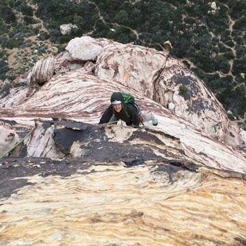 At the top of Cat in the Hat, my first multi-pitch climb, in Red Rocks Canyon, Nevada.