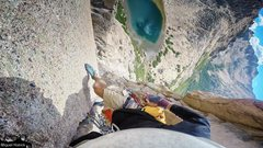 Rock Climbing Photo: Leading Diedro de Jim.  You can see the lagoon and...
