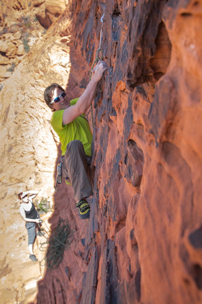"""Rock Climbing Photo: Pulling the """"roof"""" move on The Die Is Ca..."""