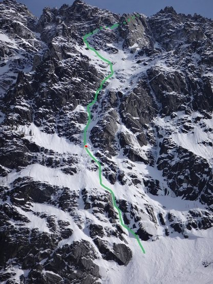 This is the route we took April 17th.<br> <br> I lead a simul-block up to the red dot. Steep snow and a few ice steps