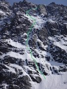 Rock Climbing Photo: This is the route we took April 17th.  I lead a si...