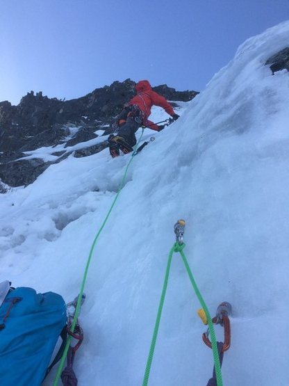 first pitch up in the rock band after roughly 800ft of simul-climbing the bottom portion of the route. We had a lot of ice so the mixed moves were fewer and further between April 17th 2016 (leader Mike G)