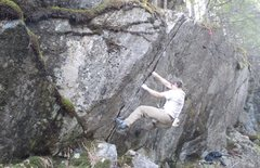 Rock Climbing Photo: Pulling on to the route from the block.