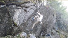 Rock Climbing Photo: In the thinner section, high feet are the solution...
