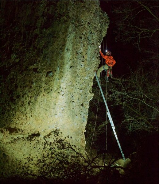 My dad and I went and bolted a new 5.9 on the EFS wall in the opening of box canyon. We bolted it at 11:30 P.M. with a 30' extension ladder, flood lights, and headlamps. Crazy cool!<br> Photo Credit to Jason Stevens