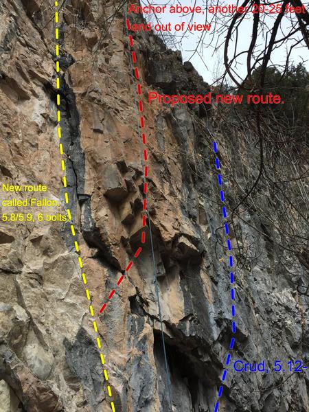 Rock Climbing Photo: New route proposal, right of Fallon.