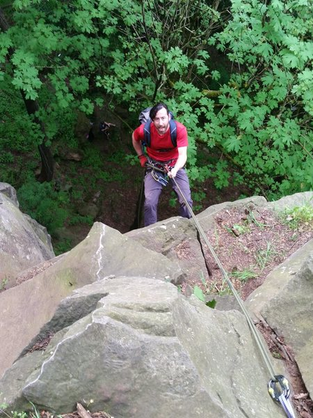 Rock Climbing Photo: easy rappel - no fixed anchors, use tree
