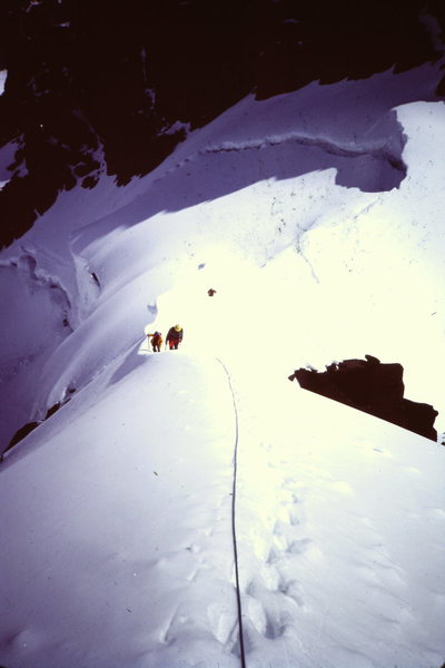[Photo 3] On the snow arete climbing towards the summit of Turret.