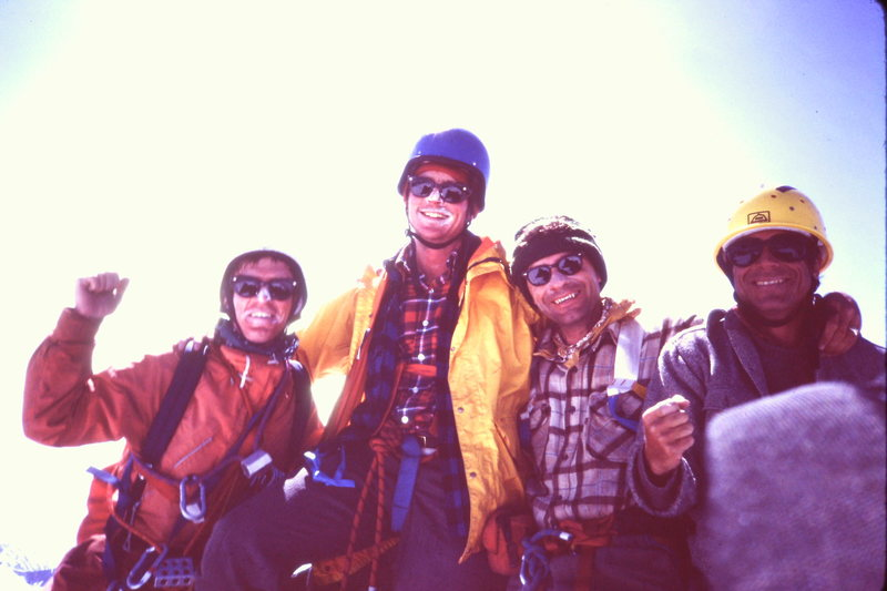 [Photo 9] Our group on the summit of Austerity 1982  [L>R Steve Latham, the late Tom Russler, Bob Hall, and Ron Factor]