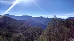 beautiful view from the hike into climbing at shelf road