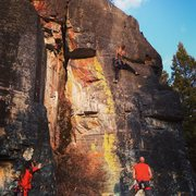 Rock Climbing Photo: Shorty project at sunset cliff, Point of rocks.