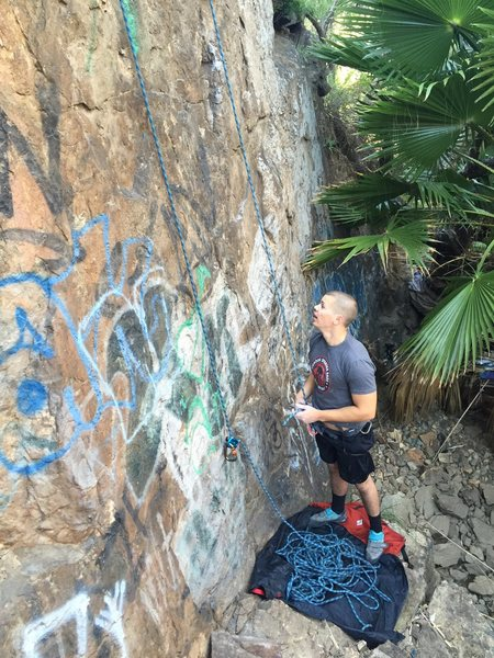 Rock Climbing Photo: Belay spot, Recommend stick clip for first bolt. p...