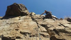 Rock Climbing Photo: Brandon passing forth bold and approaching the anc...