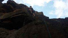 Rock Climbing Photo: Brandon on the arête passing the second bolt
