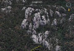 Rock Climbing Photo: Aerial view f the New Domentions Area(Google Earth...
