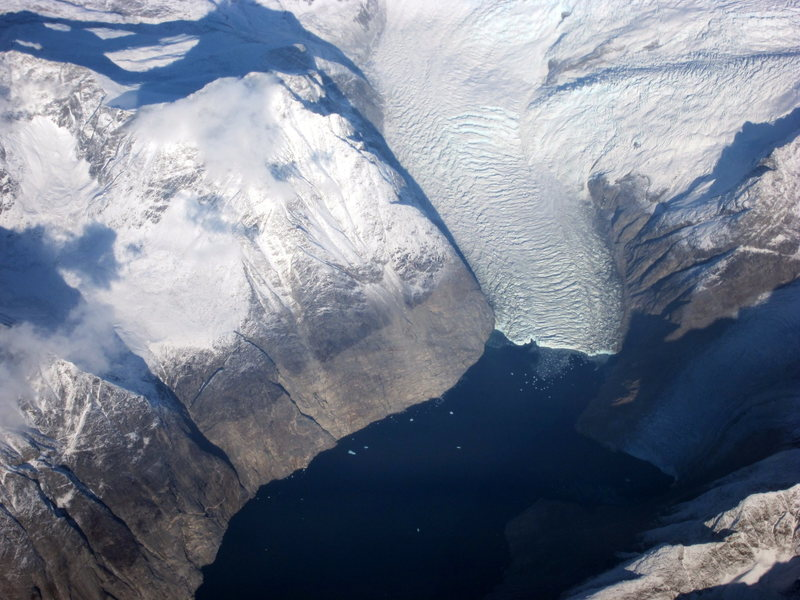 Glacier at the head of a fjord, southern Greenland, October 2011
