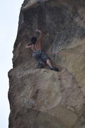 Rock Climbing Photo: Working the overhanging dihedral
