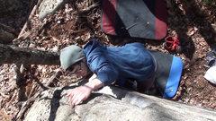 Rock Climbing Photo: Harry getting to jug above the starting corner.