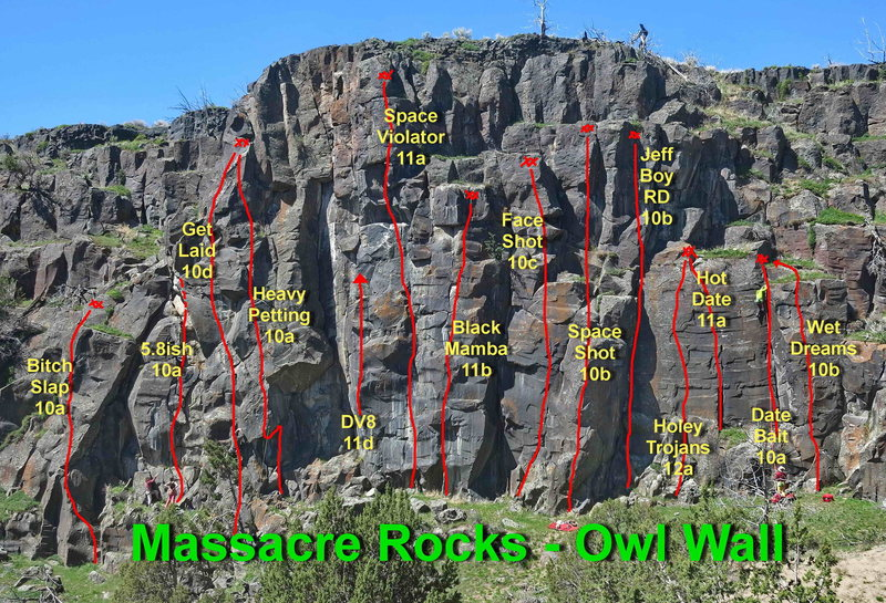 Rock Climbing Photo: Most of the routes on Owl Wall.
